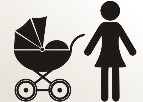 aufkleber frau mit kinderwagen an bord piktogramm