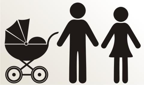 aufkleber mann frau und kinderwagen piktogramm