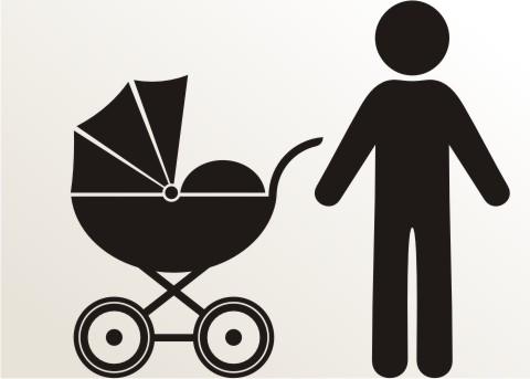 aufkleber mann mit kinderwagen an bord piktogramm