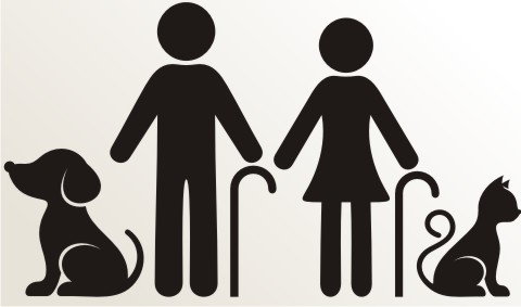 opa oma hund katze an bord piktogramm