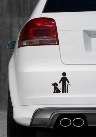 aufkleber opa mit hund piktogramm