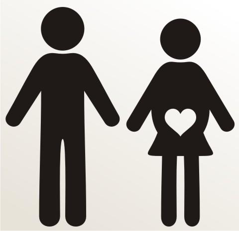 aufkleber schwangere frau und ihr ehemann piktogramm