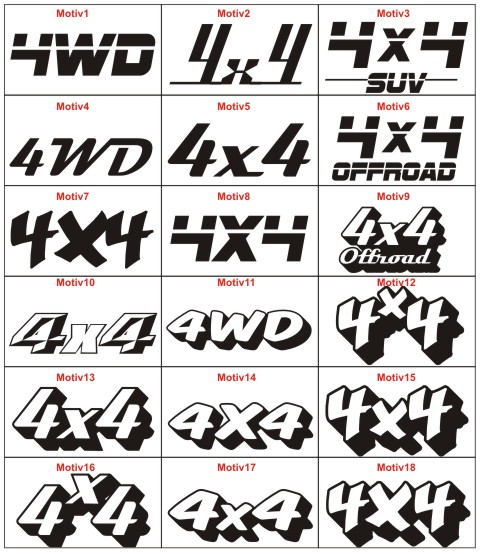 4x4 Offroad Aufkleber Auto Tuning Racingaufkleber