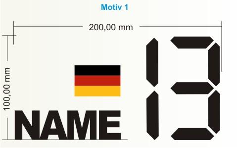 startnummer deutsche flagge name aufkleber