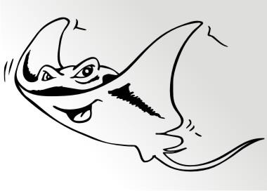mantarochen aufkleber manta ray