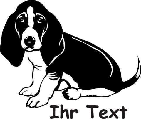 basset hound  hundeaufkleber 02DR