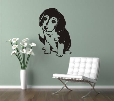 wandtattoo hund beagle pup