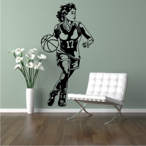 basketball girl wandtattoo