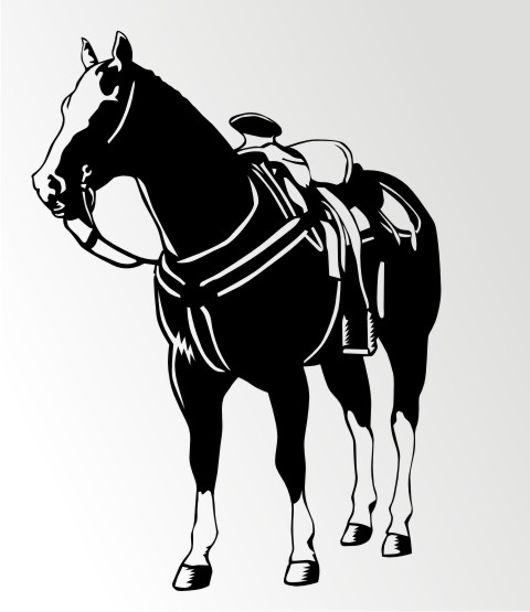 pferd mit sattel wandtattoo