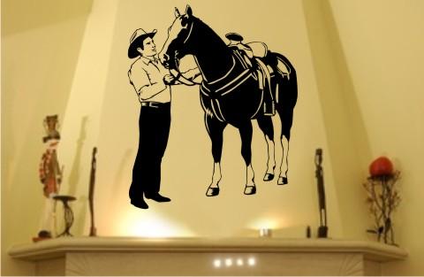 wandtattoo pferd und cowboy